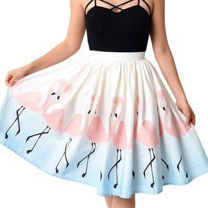 Unique Vintage Flamingo Full Skirt